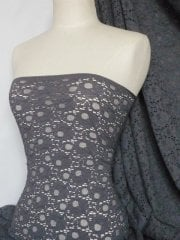 Jacquard Lace Stretch Fabric- Grey Q1041 GR