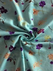 20 METRES Viscose Cotton Stretch Lycra Fabric Fabric Wholesale Roll- Mint Spring Flowers JBL265 MNT