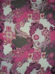 Chiffon Soft Touch Sheer Fabric - Pink Paisley PCH68 PN