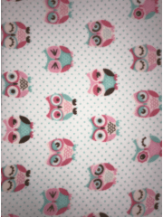 Polar Fleece Anti Pill Washable Soft Fabric- Cooky Owls SQ353 IVMLT