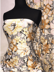 20 METRES Viscose Elastine Stretch Fabric Wholesale Roll- Mustard/Grey Florals JBL294 MSTGR