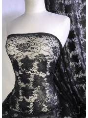 Lace Dress/Dance Sequin Net Fabric- Matt Black Floral SQ366 MTBK