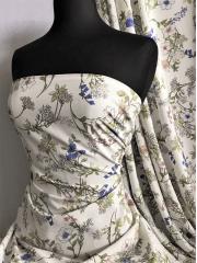 Crepe Blouse/Dress Fabric- Hampshire Gardens Ivory/Multi SQ367 IVMLT
