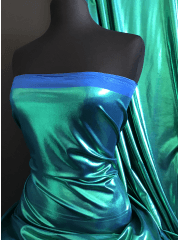 Mystique Hologram Foil Nylon Lycra 4 Way Stretch Fabric- Mermaid Q781 GRNBL