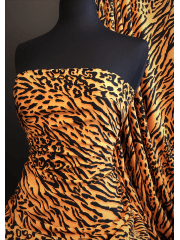 Crepe Blouse Fabric- Orange/Black Tiger CRP5 ORBK