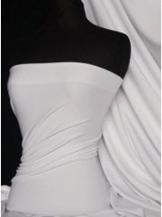 Scuba Stretch Poly Lycra Fabric- White Q792 WHT