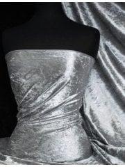 Crushed Velvet/Velour Stretch Material- Cloud Grey Q156 CGR