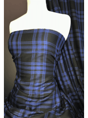 100% Cotton Soft Woven Non-Stretch Fabric- Spirit of Scotland Blue/Black SQ390 BLBK