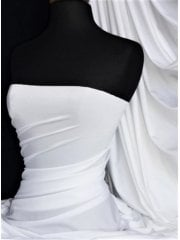 Sheen Lycra Stretch Fabric- White SQ392 WHT