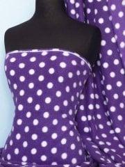 Polar Fleece Anti Pill Washable Soft Fabric- Purple/White Polka Dots Q44 PPLWHT