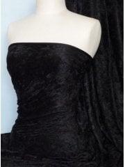 20 METRES Crushed Velvet/Velour Stretch Material Wholesale Roll- Black JBL352 BK