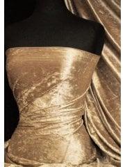 Crushed Velvet/Velour 4 Way Stretch Fabric- Golden Sand SQ404 GSND