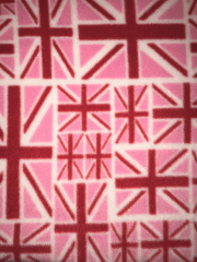 Polar Fleece Anti Pill Washable Soft Fabric- Union Jack Pink/Red SQ398 PNRD