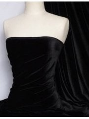 12 METRES Velvet/Velour 4 Way Stretch Spandex Lycra Wholesale Roll- Black JBL372 BK