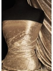 Crushed Velvet/Velour Stretch Material- Camel Q156 CML