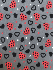 Polar Fleece Anti Pill Washable Soft Fabric- Polka Hearts SQ427 GRRD
