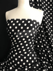 Woven Blouse Fabric- Black/Ivory Polka Dots SQ439 BKIV