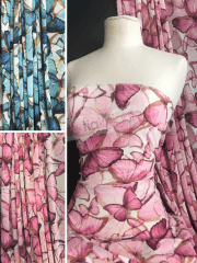 Chiffon Soft Touch Sheer Fabric- Luminous Butterflies CHF261