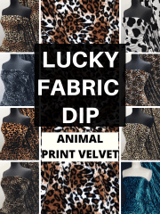 12 PIECES Lucky Dip Fabric Bundle- Plush Velour Animal Print Velvet Soft Fabric