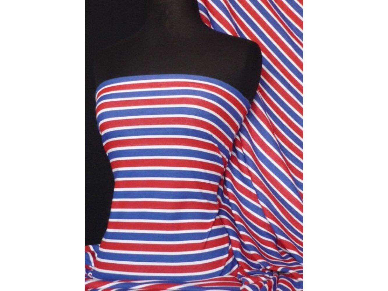 30424f53a4e 100% Cotton Interlock Knit Soft Jersey T-Shirt Fabric- Easy Horizontal  Stripe Q749. ‹