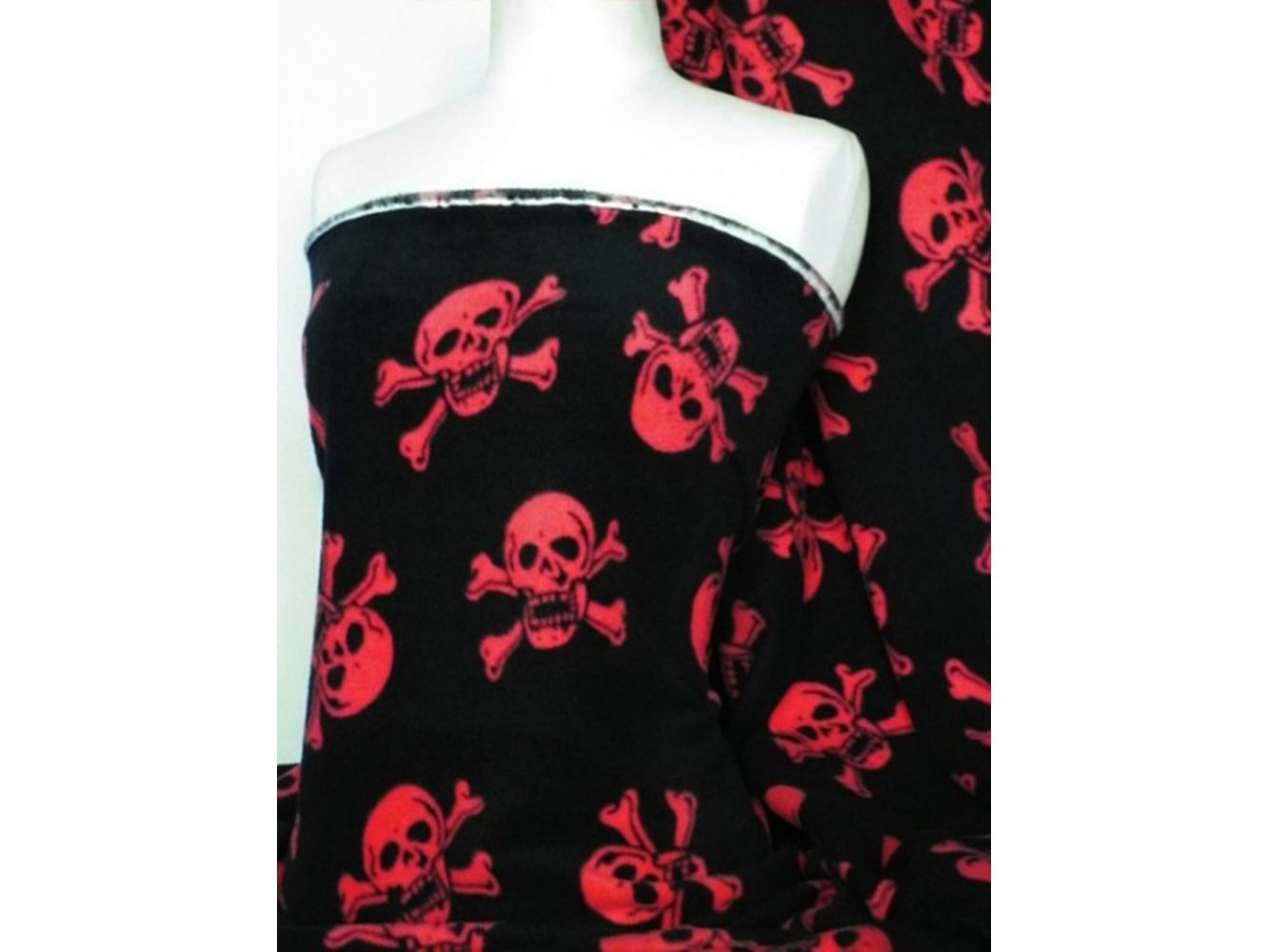 Black/ Red Skull Print Polar Fleece- Anti Pill Washable Soft Fabric