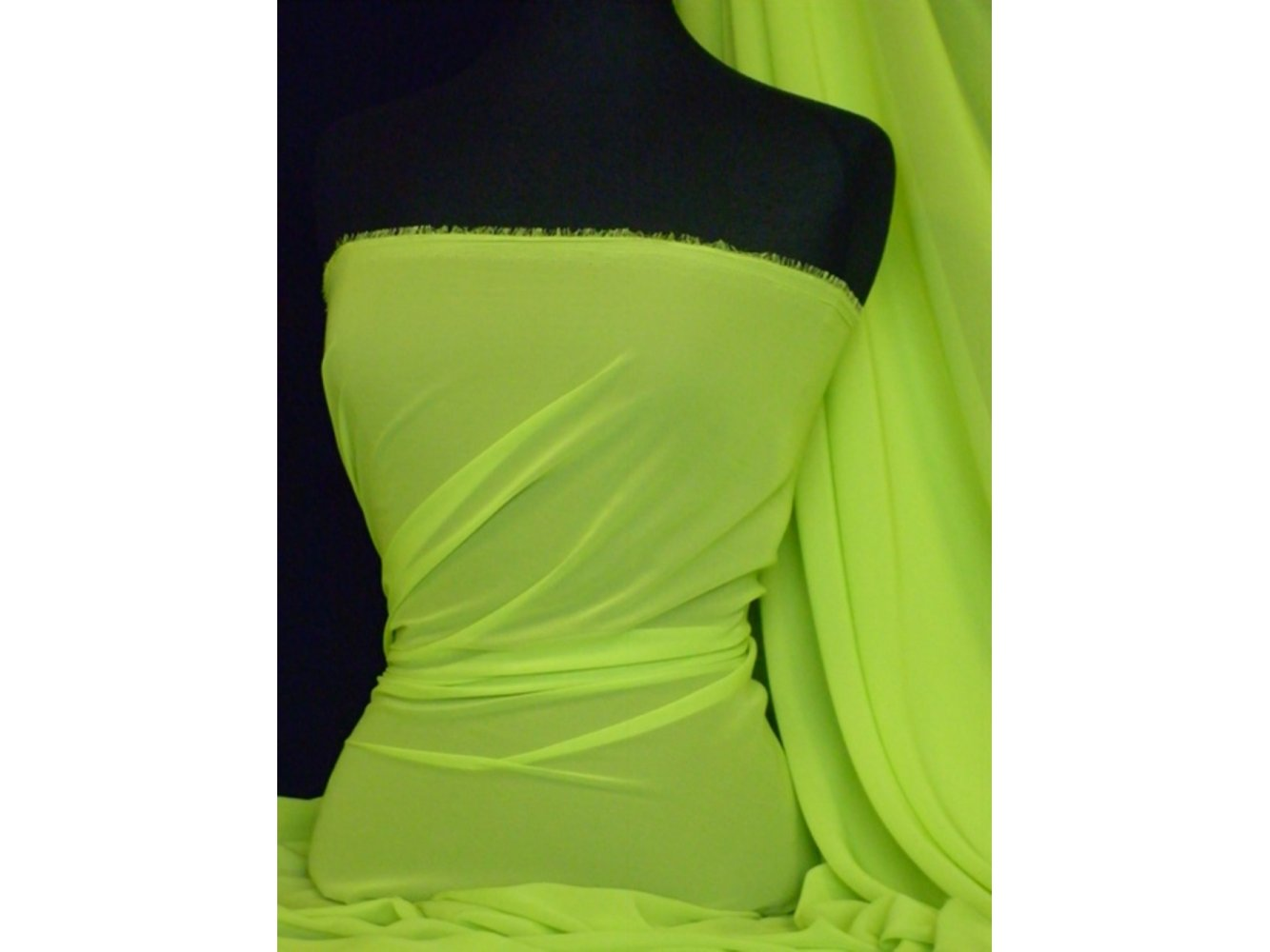 Chiffon Soft Touch Sheer Fabric Material  Lime Green Q354 LMGRN. U2039