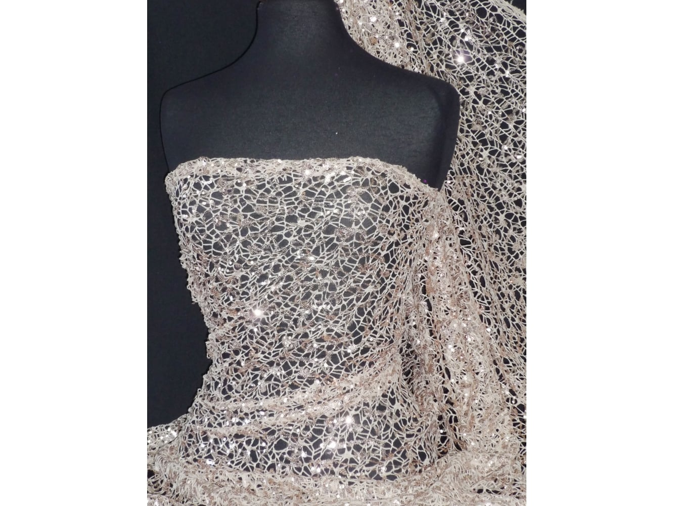 Crochet Knit Spider Web Sequin Lace Fabric- Rose Gold