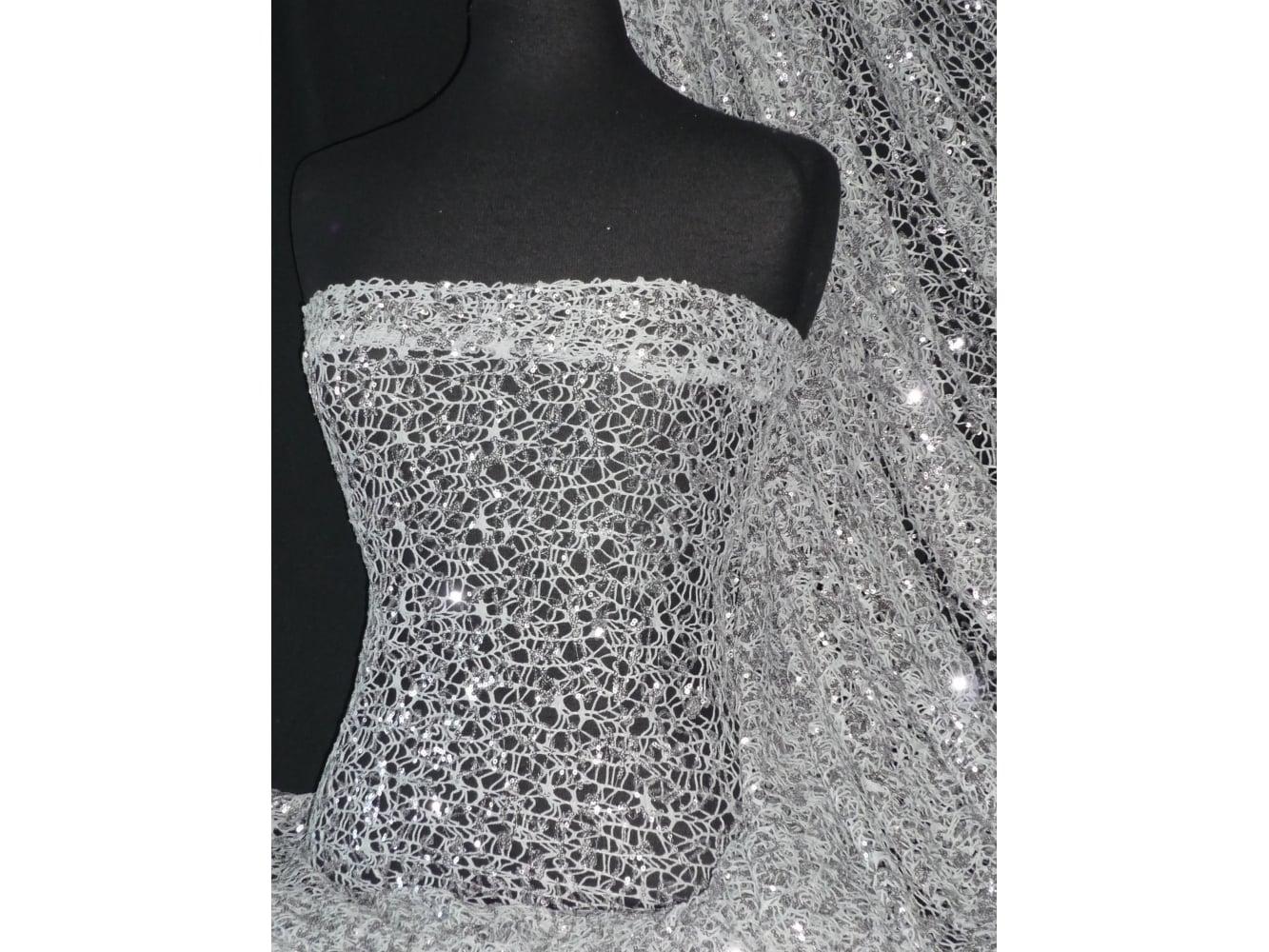 Crochet Knit Spider Web Sequin Lace Fabric- Ice Grey SQ158 IGR