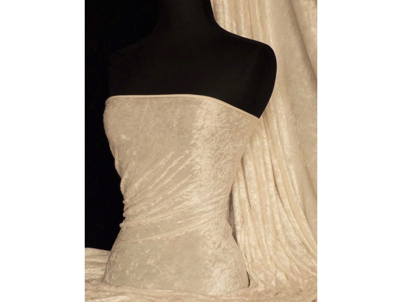 Crushed Velvet/Velour Stretch Material- Nude Q156 ND