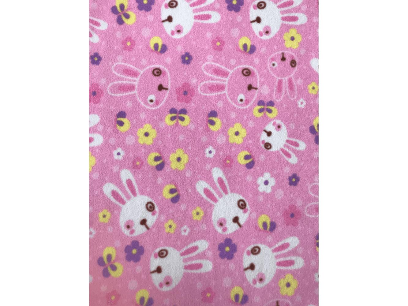 Cerise Pink Heart Print Polar Fleece- Anti Pill Fabric