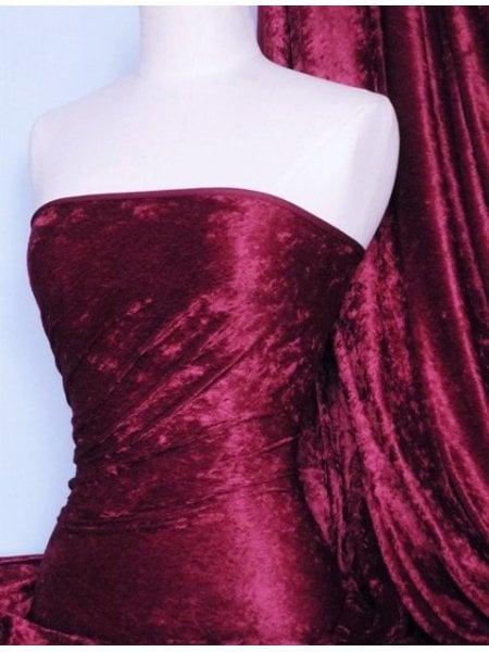 Crushed Velvet/Velour Stretch Material- Wine Q156 WN