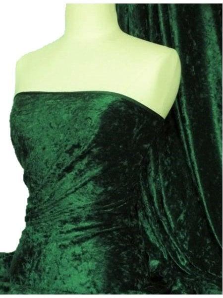 Crushed Velvet/Velour Stretch Material- Bottle Green Q156