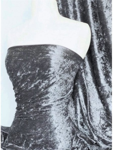 Crushed Velvet/Velour Stretch Material- Charcoal Grey Q156