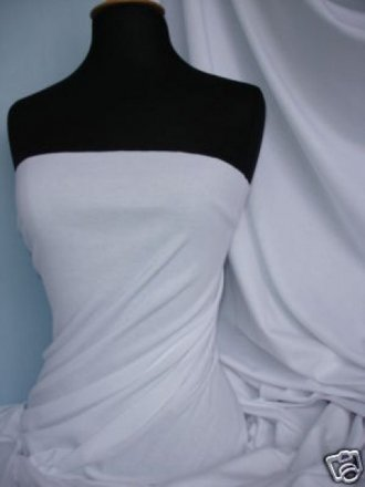 100% Viscose Stretch Fabric Material- White 100VSC WHT