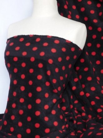 Polar Fleece Anti Pill Washable Soft Fabric- Black/Red Polka Dots Q44 BKRD