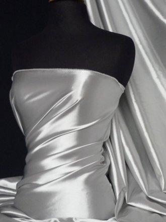 Fluid Super Soft Satin Stretch Fabric- Silver Grey Q855 SLVGR
