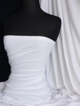Cotton Lycra Jersey 4 Way Stretch Fabric- Pure White Q35 WHT