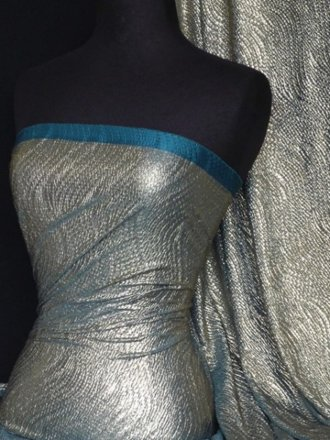 Bodré Crinkle Metallic Foil Stretch Fabric- Teal/Gold Q827 GLDTL