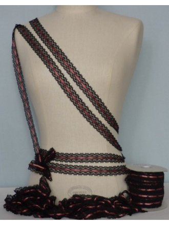 Black Lace With Pink Ribbon Trim