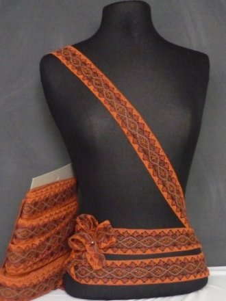 Rust Orange Cotton Crochet Lurex Trim