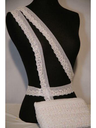 White Sequin Cotton Crochet Trim