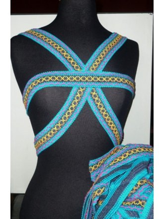 Blue Cotton Print Trim