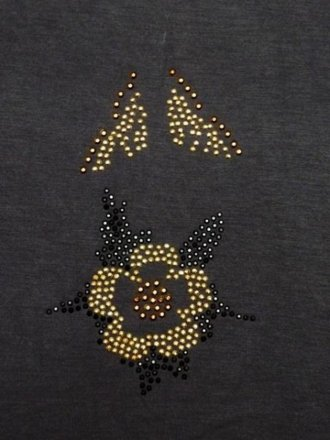 Gold/Black Flower Design Iron-On Rhinestud