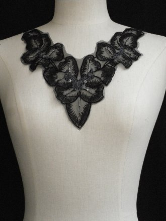 Black Flower Sequin Neck Piece