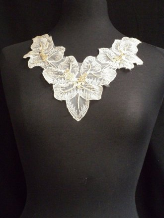 Stone Flower Sequin Neck Piece
