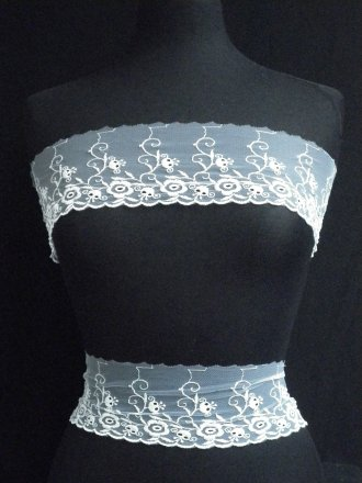 White Floral Embroidered Lace Trim