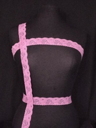 Mauve Purple Floral Lace Trim