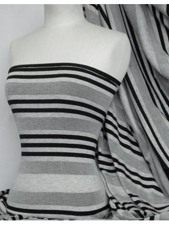 Rib Viscose Cotton Stretch Lycra Fabric- Grey/Black Horizontal Stripe Q1197 GRBK