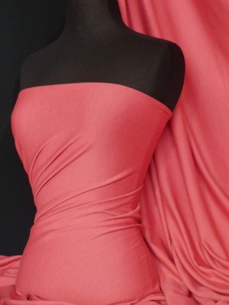 Ponte Double Knit Stretch Jersey Fabric- Coral Q37 CRL
