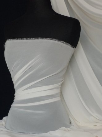 Chiffon Soft Touch Sheer Fabric Material- Ivory Q354 IV